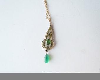 Antique Lavaliere Necklace / 10k Gold With Emerald c.1910