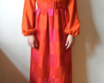 Vintage Orange Maxi Dress Red Pink and Orange Dress Quilted Dress Size Medium Gift For Her