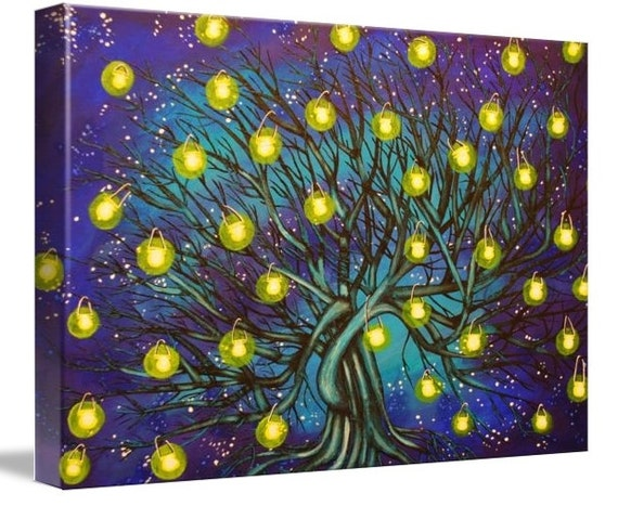 LE Deep Canvas Wrap Giclee Print of Original Painting The Lantern Tree Amber Elizabeth Lamoreaux Surreal Art Modern Tree Lanterns Starry Art