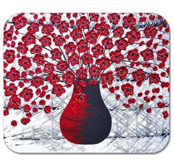 Mousepad Mouse Pad Fine Art Painting Red Blossoms Bouquet Flowers in Vase Red Black and White