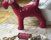 miniature Bertie dog rose pink pincushion,pin plushie, felt dog pin cushion, puppy pin cushion,handmade dog sewing accessory made by FRALINE