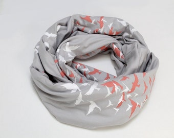 Grey White and Coral Birds Cotton Jersey Infinity Scarf
