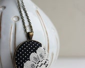 Black and White Necklace, Retro Jewelry, Unique Necklace for Women, Teens, Fun Gift Ideas, Polka Dot Jewelry, Lace Necklace, Black Pendant