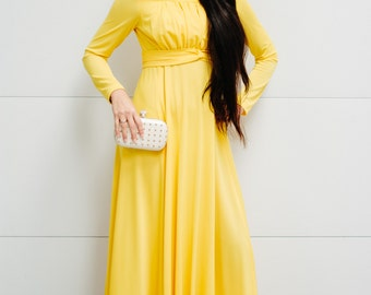 Vintage Bright Yellow 1970's Maxi Dress with Empire Waist