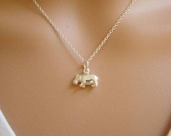 Hippo Necklace - Hippo Charm 925 Sterling Silver - Hippopotamus Pendant - Hippopotamus Necklace