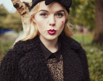 Glitter Black Knitted Bow Headband, Sparkly Glitter Knitted Headband, Cute and Cosy Ear Warmer