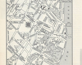 Rotterdam Netherlands Map, City Map, Street Map, 1950s, Europe, Black and White, Retro Map Decor, City Street Grid, Historic Map