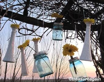 12 DIY Hanging Flower Vases, Wedding Flower Hangers for Milk Glass Vases, Mason Jars, Recycled Bottles, Candles or Flowers Hangers, no jars