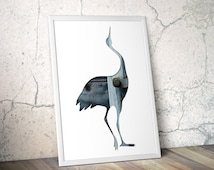 heron silhouette in blue, digital silhouette art, 11x14 print, crane slate reclaimed wood art, minimalist animal art, scandinavian decor
