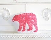 Plush Bear Pillow in Coral. Woodblock Printed. Made to Order. Choose Any Color.