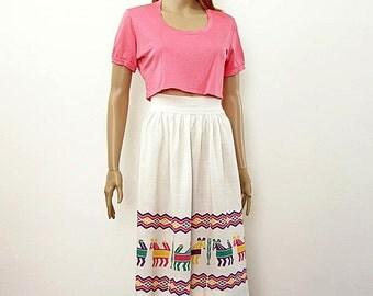 Vintage 1960s Aztec Border Skirt High Waist Pleated Cream White Skirt / Southwestern Tribal / Small