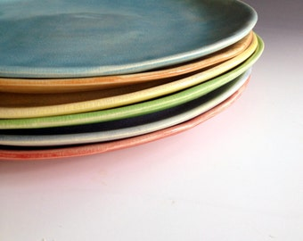 Dinner Plates, Free formed, organic shaped, slab made dinnerware plates, set of six dinnerware plates in six colors by Leslie Freeman