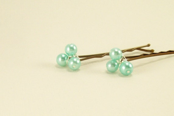 Aqua Pearl Beaded Bobby Pins~ Hair Accessory~ Everyday Wear Bridal Bridesmaid Prom Casual Hair Accessory Bobby Pins~ Handmade
