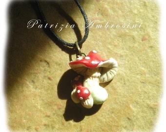 Handmade < Mushrooms pendant - polymer clay fimo cernit sculpey fairy