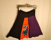 Recycled tee shirt skirt  medium with rayon waistband  M0014