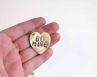 Be Mine Valentine heart necklace  - hand stamped Valentine's Day jewelry