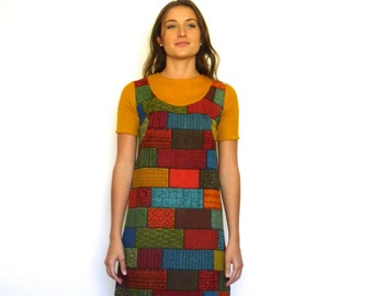 60s Retro Tapestry Patchwork Bricks Babydoll Mini Dress xs s
