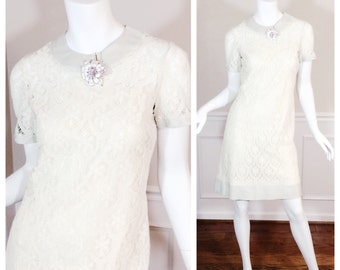 Vintage Lace and Linen Ivory Sheath by Jerrie Lurie
