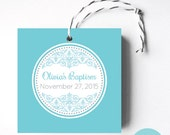 Damask Favor Tags or Stickers - Circle Design - Printable