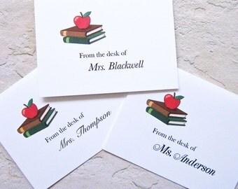 Teacher Note Cards/Personalized, Custom Note Cards, Teacher Gift, End of School Year, Set of Ten, Apple for Teacher. Teacher Thank You Cards