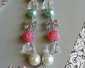 ANNA and ELSA rhinestone Chunky Necklace- Chunky bubblegum necklace, Girls chunky necklace, Gumball necklace, Chunky beaded necklace