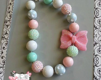 MINT and PINK Rhinestone BOW Chunky Necklace- Chunky bubblegum necklace, Girls chunky necklace, Gumball necklace, Chunky beaded necklace