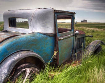 maya blue jalopy, vintage truck photograph, fine art print, sky blue, abandoned car, view of the prairies