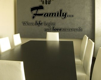 Vinyl Wall Art Decal Sticker Family Life Begins 5194s