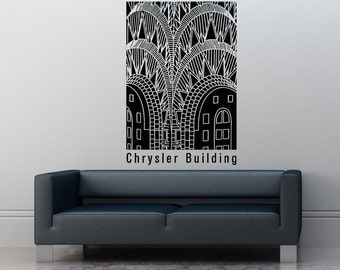 Vinyl Wall Decal Sticker Chrysler Building Design 5298m