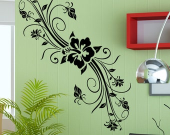Vinyl Wall Decal Sticker Hibiscus With Vines 5323m