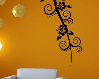 Vinyl Wall Decal Sticker Hanging Hibiscus 5329B