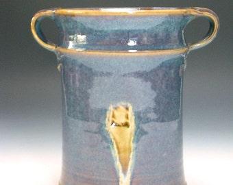 Wine chiller, vase, utensil holder, multi use vase with rutile blue glaze