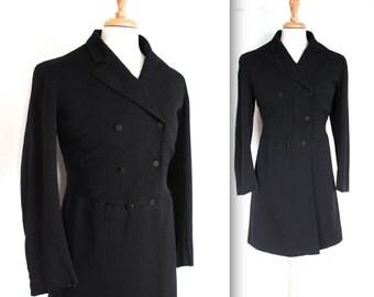 Vintage Edwardian Coat // Antique 1910s Black Wool Morning Frock Coat // Manor Born // DIVINE