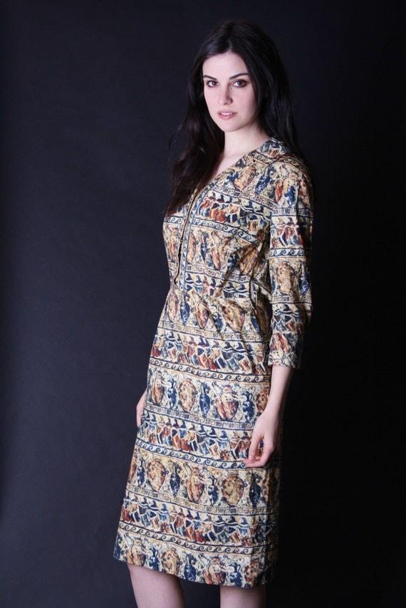 Saks Fifth Avenue Dress - 50s Designer Dress - Wiggle Dress - Egyptian Revival Dress - 2841