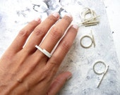 RING sterling silver contemporary jewelry geometric stackable stacking ring horizontal lines - Linear Collection