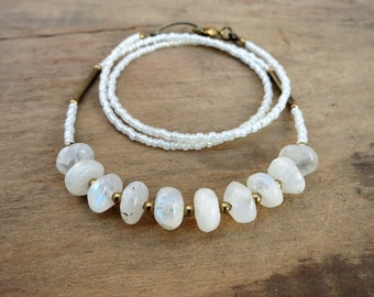 Moonstone Pebble Necklace, white and gold moonstone, seed bead, and brass necklace, rustic modern Bohemian hippie jewelry