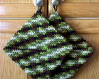 Crochet Pot Holders Double Thick Hot Pad Color-Hunter-Potholder Men Gift