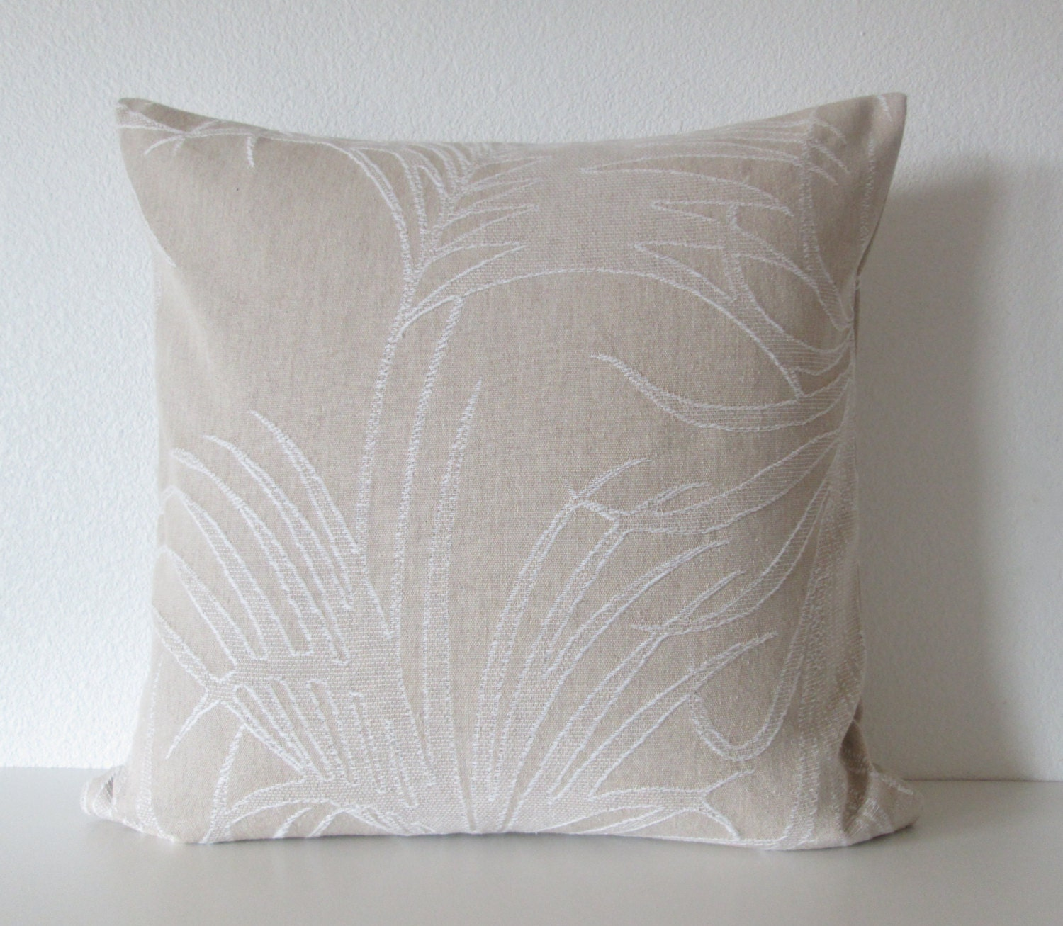 Natural Decorative Pillow : Natural beige large palm leafs decorative throw pillow cover