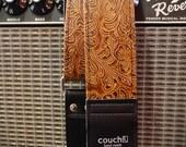 Light Brown Western Guitar Strap, vegan YEEHAW