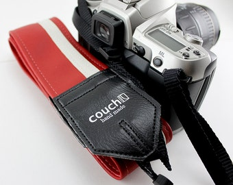 Red and White Racing Stripe Camera Strap- Vegan, Upcycled