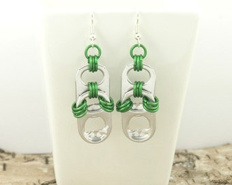 soda tabs and green chainmaille earrings, green earrings, pop tab earrings, pull tab earrings, recycled earrings, upcycled earrings