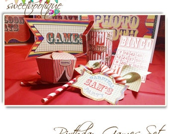 Vintage Fair, Fete, Carnival or Circus Games Set - Printable - Customised - Downloadable