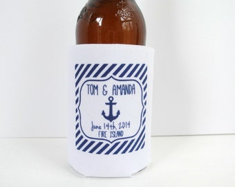Personalized Nautical Wedding Can Coolers, Beach Wedding Favors, Beverage Insulators, Beer Huggers, Nautical Wedding Favors