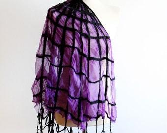 Cobweb Gothic Clothing Scarf - Purple and Black Nuno Felt Scarf Wrap - SALE