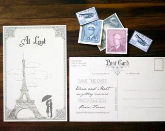 Vintage Paris France Destination Wedding, Save the Date Postcard, At Last Eiffel Tower Paris Vintage Stamp Airmail Save the Date Postcard