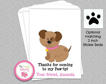 Puppy Favor Bag,  Puppy Dog  Party  Bags, Goody Bags, Party Favor Bag