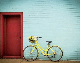Bike Photography Fine Art Print , Still Life , Bike Art ,  Robin Egg Blue , Red Door , 5 Seconds Of Summer , Bike Basket , Summer Photo