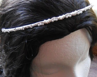 Bridal Tiara Headband, Crystal Rhinestone with White Pearls