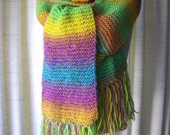 JOY Hand Knit Stripe Scarf Luxurious Soft Wool Blend yarn / Boho Scarf/ Dream Scarf / Colorful Gift
