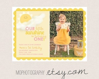 You are my sunshine - Vintage Party Invite - Pink and Yellow - Digital File